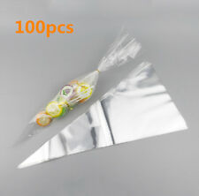 100 Clear Cellophane Cone Bags Twist Ties Large Party Sweet Candy Kids Christmas