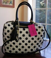 NWT Betsey Johnson Quilted Marshmellow Polka Dot Satchel Bone Black
