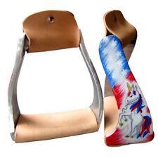New Pony Youth Polished Aluminum Stirrups w/ Unicorn Red White & Blue Stars