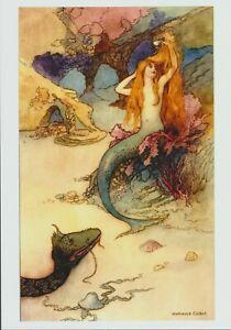 Warwick Goble Art Print Seascape Beach MERMAID Comb Red Hair Rocks Shore Dragon