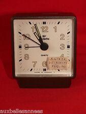 ANCIEN RÉVEIL VINTAGE VEDETTE MARRON / HORLOGE PENDULE OLD CLOCK
