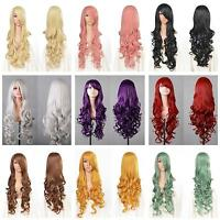 """New Fashion Womens Long Wavy Curly Hair Anime Cosplay Party Full Wig & Cap 32"""""""