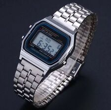 Retro Classic Unisex Women Men Stainless Steel Digital Led Wrist Watch Silver
