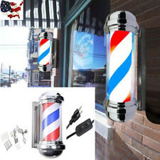 Us Stock Barber Pole Shop Red White Blue Stainless Steel Rotating Electric Salon