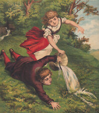 JACK AND JILL NURSERY RHYME ANTIQUE LITHOGRAPHS ART PRINTS 1870  (4 )IN THIS LOT