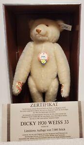 """Steiff Dicky Bear, Replica 1930, 407574, LE 279/7000, 1992, 12"""" tall, Box & COA"""