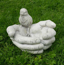Bird Bath Feeder Bird In Hands Stone Garden Patio Ornament Water Decor Gift UK