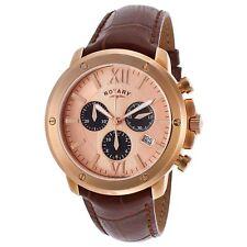 Rotary Hombres Reloj De Cuarzo Acero Oro Caja y correa de piel marrón gs02840/25