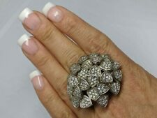 "Art Deco BOLD Sz 7 Statement Ring Flower Cluster Style Clear Stones 1.5"" Tall"