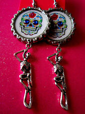 Day Of The Dead Sugar Skull With Skeleton Dangle Charm Earrings #17