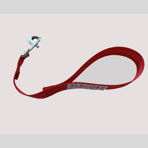 ALBCORP Short Dog Leash, Owen Nylon with Handle, 12 inch Red/Black