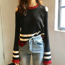 145 Korean Women's Fashion Off Shoulder Pullover Long Sleeve Top Knit Shirt