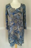 Nomads Size 10 Tunic Jersey Top Blue Floral  100% Cotton 3/4 Sleeve Boho