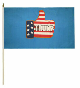 Wholesale Lot 12 Trump 2024 Up Thumbs Up Blue 8x12 Stick Flag Flags Wooden Staff