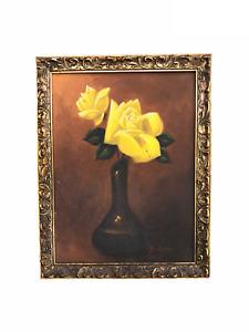 Flowers in Vase - Original Vintage Oil on Board