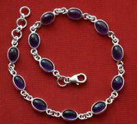 Handmade 925 Solid Sterling Silver Bracelet Natural Amethyst Gemstone Sizable