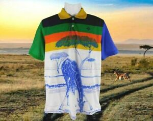 New Men's Lifted Research Group Short Sleeve Polo Shirt M Africa Giraffe Striped