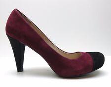 Franco Sarto Willa Burgundy Red Suede Leather Pumps Black Cap Toe 7.5M 7.5 $99
