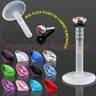 Bioflex Push In Gem Top Labret Lip Bar Ring Stud Monroe Body Piercing Jewellery
