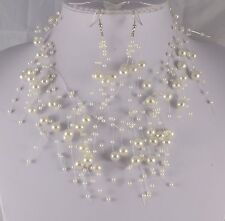 FLOATING LIGHT CREAM FAUX PEARL NECKLACE  AND  EARRINGS  SET
