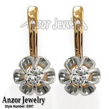 0.56 CWT Russian style Malinka Diamond Earrings 14K 585 #E997.