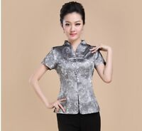 Top Chinese women T-shirts Jacket Blouse Cheongsam Qipao M-4XL Grey/Red