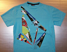 VOLCOM / SK8 SKATEBOARD / CALIFORNIA USA / COLLAGE DESIGN / BLUE T-SHIRT SIZE S