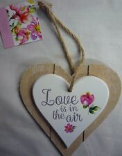 Love is in the Air Colour Double Layer Solid Wood Hanging Shabby Chic Love Heart