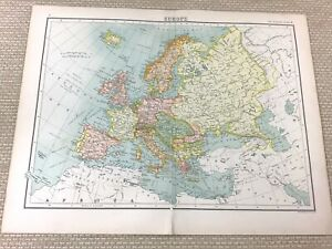 1891 Antique Map of Europe Old European Empire Austro Hungary Old 19th Century