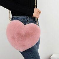 Women's Heart Shaped Faux Fur Crossbody Wallet Purse Chain Shoulder Bag Handbags