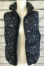 GAP Winter Warmth Women's vest navy floral lined front zipper pockets Size XS
