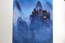 NEW RARE WELLS FARGO POSTER WILD WEST STAGECOACH BANK ARMED COURIER BRIDGE NIGHT