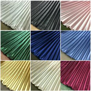 Metallic Faux Silk Satin Pleated Fabric Stretch Cloth Dress Skirt Material Craft