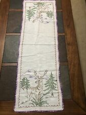 Vintage Hand-Embroidered/Crocheted Dresser Scarf/Runner Mountain Deer Stag 13x39
