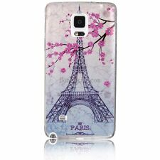 Pink Flower Paris Eiffel Tower Soft Case Back Cover for  Samsung Galaxy Note 4