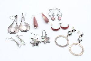 7 x .925 Sterling Silver EARRINGS inc. Coral, Mookaite, MOP, Modernist (42g)