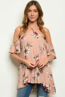Women Cold Shoulder Halter Neck Floral Tunic Top Blouse Blush Casual Relaxed