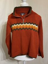 DelCerro Patagonia Argentina Youth Sz12 Wool /Cotton 1/4 Zip Pullover Sweater