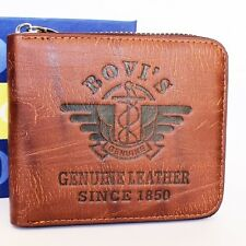 Branded, Classic Fine Men Leather Wallet in Brown Colour With Zipper ( NMD-3)