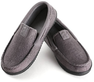 Men's Suede Moccasin Slippers Cozy Memory Foam House Shoes Anti Skid Rubber Sole