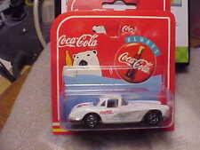 Majorette Coca Cola 1958 Chevy Corvette White on Short Card