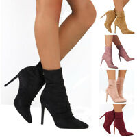 Women Pointed Toe Ankle Boots Ladies Suede Stilettos Zipper High Heel Shoes Size