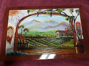Hand Painted Ceramic Tile Mazatlan Mexico Artist Signed Vineyard Scene