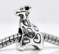 1PC Silver Tone Charm Beads Fit European Charm Bracelets Giraffe Style 15x9mm