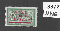 #3372  1.50M Flugpost  MNG stamp ScC23 1922 Memel Lithuania Prussia Germany WWI