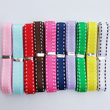 """20Yards 3/8"""" (10mm) Grosgrain Ribbon With White Double Edge Lines 10 Colors"""