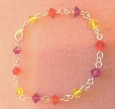 Silver Plated Crystal Element Chain Bracelet with Yellow/Orange/Pink Spacers (e)