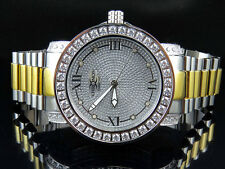 Men Two-Tone White Gold Finish Stainless Steel  Khronos Simulated Diamond Watch