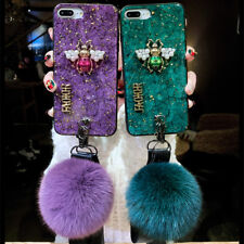 Fashion Hybrid Marbled Hairball bee case phone cover with lanyard for Apple #1