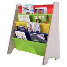 Kids Book Shelf Sling Storage Rack Organizer Bookcase Display Holder Natural New